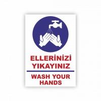 İş Güvenliği Levhaları - Ellerinizi Yıkayınız Levhası ( 35x25 )