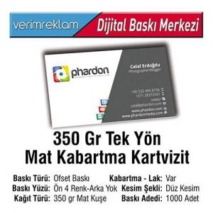 Tek Yön Kartvizit (350 gr. Mat Kuşe - Kabartma - 1000 Adet )